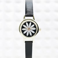 Daisy Face Watch in Black - Urban Outfitters