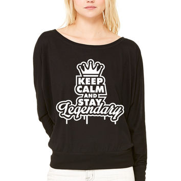 keep calm and stay legendary 1 f1 WOMEN'S FLOWY LONG SLEEVE OFF SHOULDER TEE