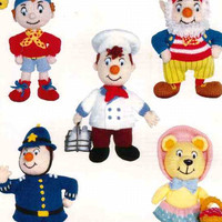 Noddy and Friends Knitting Pattern PDF instant download, Noddy, Big Ears, Tessie Bear, Mr Plod, Mr Milko, 5 patterns to knit