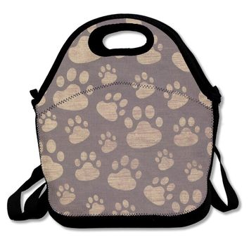 Ryskeco Cute Footprints Pattern Portable Reusable Lunch Tote Bags For Women, Teens, Girls, Kids, Baby, Adults,Work, Office, School Or Gym