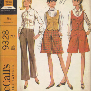 McCall's 60s Sewing Pattern Culottes Gauchos Pants Pantskirt Vest Blouse Long Sleeve Shirt Button Front Bust 34