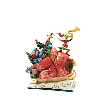 Jim Shore Grinch Santa on Sleigh Resin Figurine New with Box
