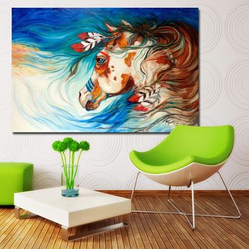 SELFLESSLY Indian War Horse Feather Wall Art Canvas Printing Decoration For Living Room Wall Art Spray Wall Painting Home