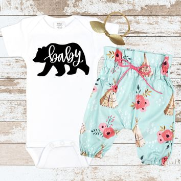 BABY BEAR Teepee Pants Newborn Outfit