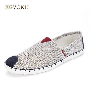 Men Casual Shoes Breathable Hombre Slip-on Lightweight Canvas Shoes Fashion Flats Man Hemp Shoes