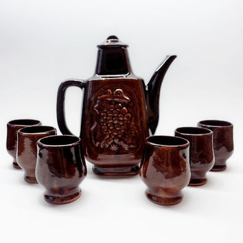 Vintage Ceramic Wine Set, Set of Decanter and 6 Mugs, Bulgarian Traditional Folk Art Pottery Set, Brown Glazed Ceramic Wine Set, 1970s