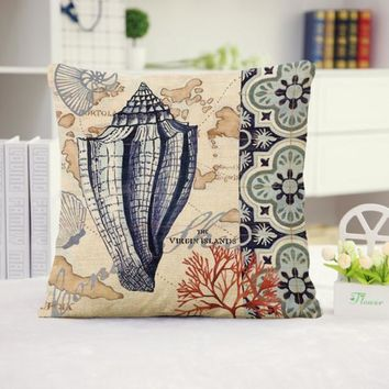 Conch Shell Cotton Linen Cushion Pillow Cover