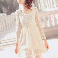 Beaded Crocheted Lace Round Neck with Pearl Cream Colour Long Sleeve Dress