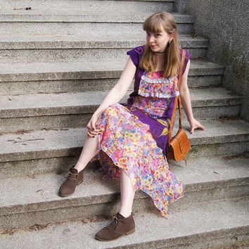 Nuno felted dress, summer dress, boho fashion, woman floral dress, merino wool with recycled silk and viscose fabric, purple, size M-L. OOAK