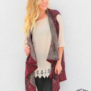 Women's Warm Me Up Vest in Maroon