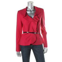 Carolina Herrera Womens Wool Ruffled Blazer
