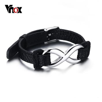 VNOX Black Genuine Leather Infinity Sign Wrap Wrist Band Rope Bracelets for Women and Men Jewelry Size Adjustable