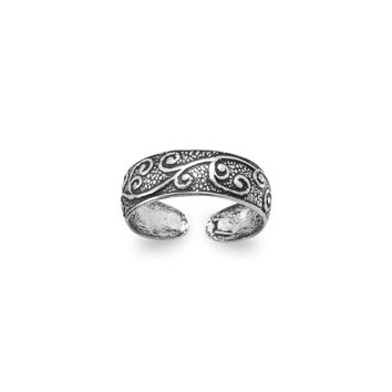 Floral Design Toe Ring in Oxidized Sterling Silver
