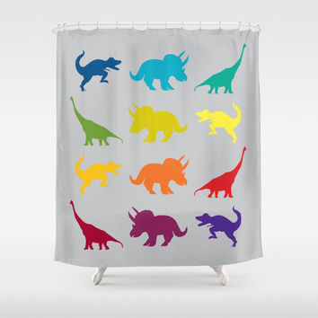 Dinosaur Shower Curtain - Dinosaur, Tyrannosaurus Rex colorful cretaceous, jurassic rainbow, kids, children decor bathroom, zoo,
