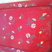 Vintage Metal Floral Tray, Metal Tray, Decorative Tray, Serving Tray,