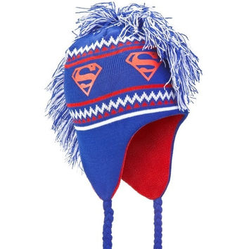 Superman - Logo Mohawk Peruvian Knit Hat - Blue (Color: Blue) = 1945991812