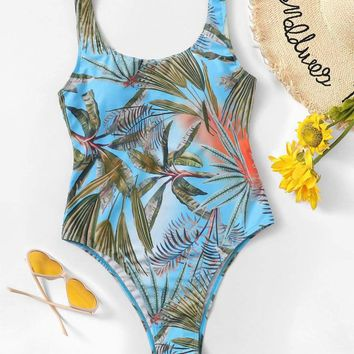 Random Tropical Print Low Back One Piece Swimsuit