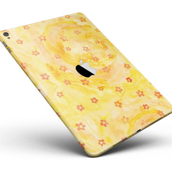 "Cute Watercolor Flowers over Yellow Full Body Skin for the iPad Pro (12.9"" or 9.7"" available)"