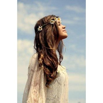 Small Daisies Flower Crown Braided Vegan Leather With Dainty Daisy Blooms Be Sure To Wear Flowers In Your Hair