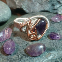 Amplified amethyst ring wire wrapped amethyst ring silver and copper amethyst ring liveartstudios