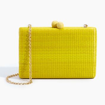 Beth Straw Rectangle Clutch - Yellow