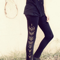 black studded Leggings // tribal // indie // boho // gypsy