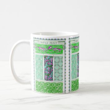 Pink baboon and parrot jungle tile print mug
