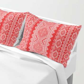 Ukrainian embroidery red and white Pillow Sham by exobiology