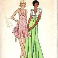 Retro Disco Style 1970s Halter Top Dress Cropped Bolero Jacket Maxi Mini Open Back Butterick Sewing Pattern Bust 34 36