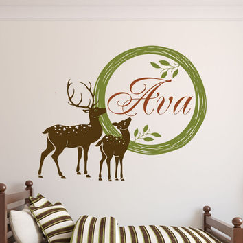 Personalized Deer Decal, Hunting Wall Decal, Deer Decor, Hunting Decor, Nature Wall Decal, Deer in Woods, Cabin Decor
