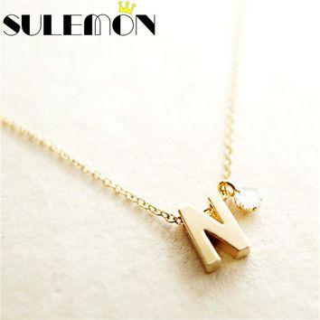 Personalized Initial Name Necklace Couple Pendant Charm Jewelry For Women Rhinestone Letter Gold Color Chain Fashion Love Gift