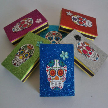 Wedding Favors Mexican Skull Loteria Glitter Matchbox,Party supply Candy boxes, Bridal shower,Day of the dead,día de muertos, catrina