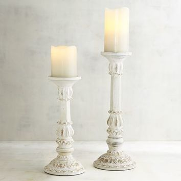 Whitewashed Pillar Candle Holders