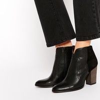 Dune Pollo Black Leather Heeled Boots