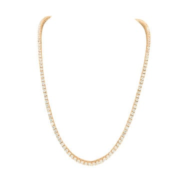 14k Rose Gold Finish Lab Diamond Mens Tennis Necklace