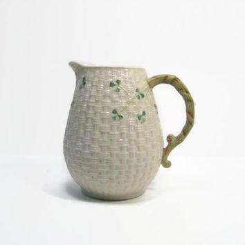 "Belleek Basket Weave Juice Pitcher, Parian Fine China 6"" Pitcher, Irish Shamrocks"
