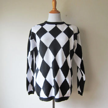 "Black & White Harlequin Print Sweater -- ""Happy House"" Siouxsie Sioux New Wave, Post-Punk Style"