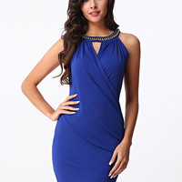 Cut Out Wrap Around Slim Fit Mini Dress