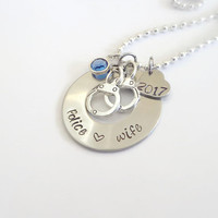 Police Wife Necklace ~ Handcuff Hand Stamped Necklace For Wife Of A Police Officer, Gifts For Her , Police Pride Jewerly, Stainless Steel