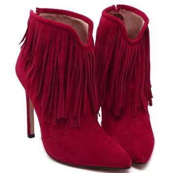 Sexy Tassel Pointed High Heel Back Zipper Short Boots