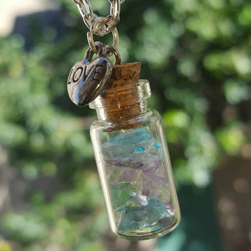 Colorful Glass Bottle Necklace -- Bridesmaids' Gift