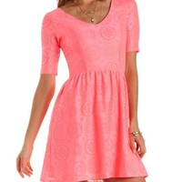 Neon Lace Skater Dress by Charlotte Russe