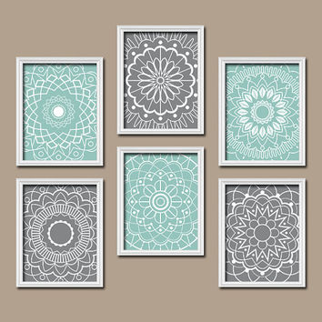 Wall Art Kitchen Bedroom Bathroom Mandala Flower Canvas Artwork Custom Colors Colorful Botanical Set of 6 Dahlia Flower Petal Bloom Decor