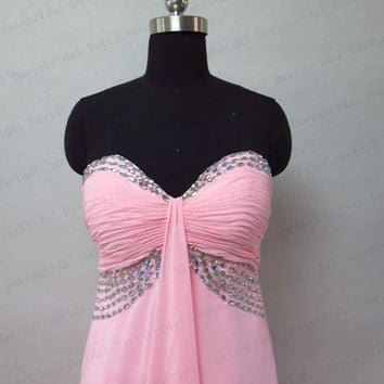 Empire waist pink chiffon long prom dress maternity prom dress pregnant evening gown beaded sweetheart plus size prom gown