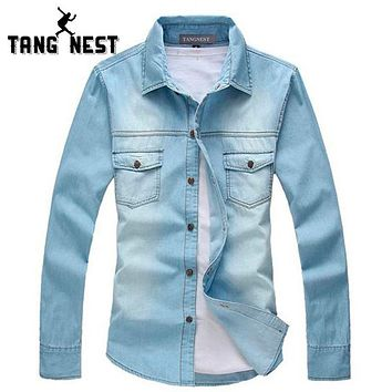 TANGNEST 2017 New Vintage Men Fashion Breathable Denim Thin Jacket Long Sleeve Light Top quality Hot Sale Jean Jacket MCL139