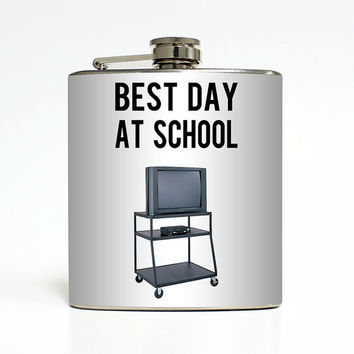 Funny Flask Best Day At School Rolling TV Cart VCR 90s Kid Movie Liquid Courage College Gift Stainless Steel 6 oz Liquor Hip Flask LC-1437