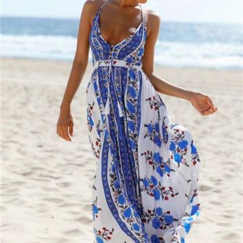 2018 hot sale printing dress strapless sexy backless long dress wrapped chest backless holiday maxi dress boho beach style dress