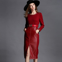 Vegan Leather Casual 9 to 5 Office Dress Slim Fit With Belt