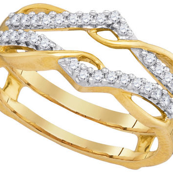 10kt Yellow Gold Womens Round Diamond Wrap Ring Guard Enhancer Wedding Band 1/4 Cttw 93108