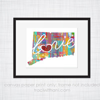 Connecticut Love - CT Canvas Paper Print:  Grunge, Watercolor, Rustic, Whimsical, Colorful, Digital, Silhouette, Heart, State, United States
